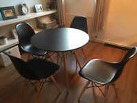 Modern table and 4 matching chairs