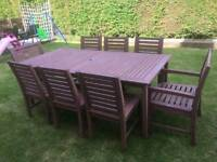 Solid Wood Table and 8 Chairs With cushion covers