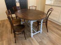Vintage solid wood oak drop leaf table. Barley twist legs. Bargain.