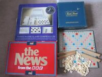 4 BOARD GAMES TRIVIAL PURSUIT MASTER GAME/NEWS FROM THE BBC/3 iN 1 GLASS CHESS SET/SCRABBLE COLLECT