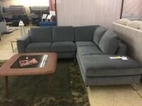 Pisa /Sollievo/B845 Grey Velvet Right Hand facing chaise corner sofa