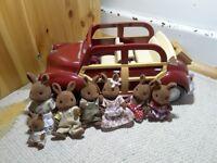 Sylvanian family Morris minor car and rabbit family