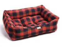 Brand New - Red Grey Tartan Luxury Sofa Pet Dog Bed (Large)