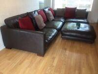 Dark Brown Leather DFS California Corner Sofa with Footstool
