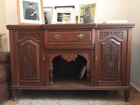 Carved wood side unit with two cupboards