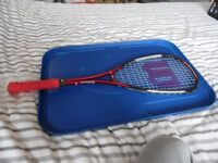 Squash racket, case and 3 balls.Wilson titanium series. Good condition £10