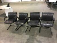 4 leather faux office chairs