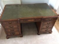 Desk: solid oak and green leather antique pedestal desk