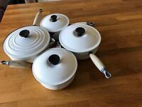 Le Creuset set of 4 cream pots with lids