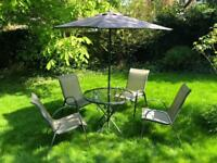 Garden set, 4 chairs, table and parasol + cover