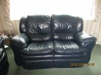 Navy 2 Seater Recliner Leather Sofa x 2