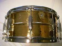 """Ludwig LB552K seamless hammered bronze snare drum - 14 x 6 1/2"""" - Early Monroe - '80s"""