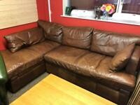 Halo brown leather corn suite / ottoman * free furniture delivery* for sale  Forfar, Angus