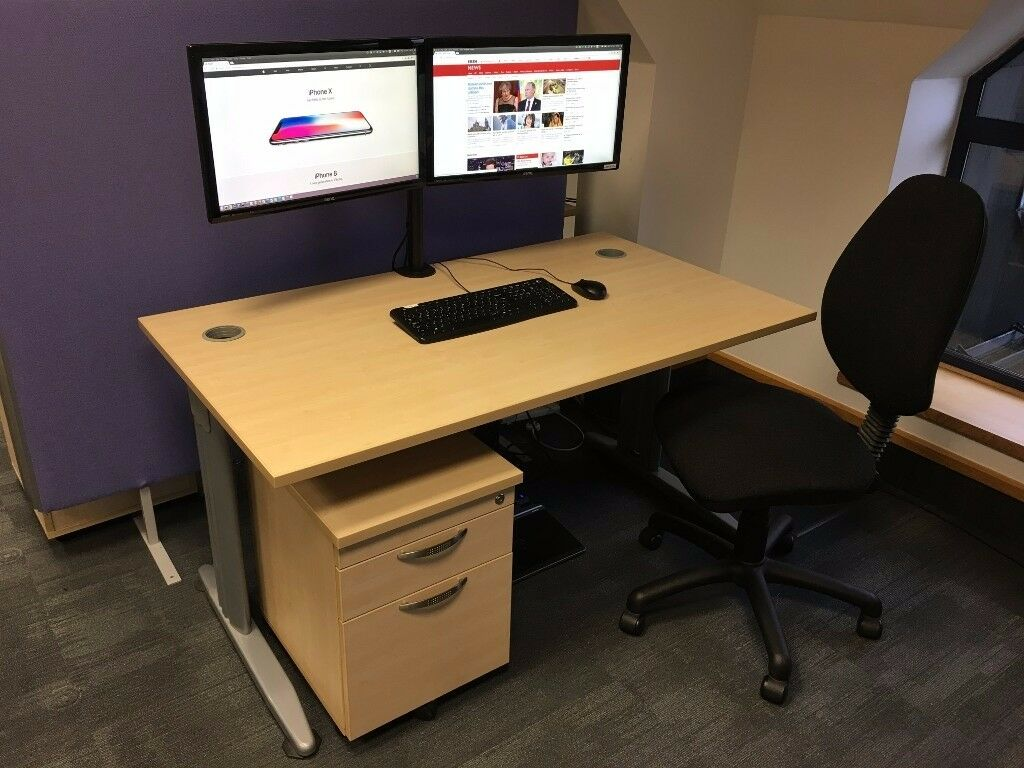 "Ultimate Workstation! Desk, 2 x 24"" monitors, pedestal, chair. Excellent condition"
