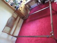 Antique light oak and rattan double bed with base (as shown)