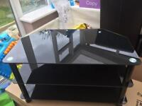 Black tinted glass tv stand
