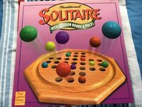 Traditional Solitaire with Wooden Board & Pieces