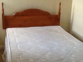 Double Divan Bed with Pine Headboard