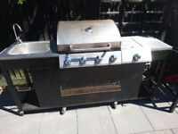 Professional outdoor gas barbecue