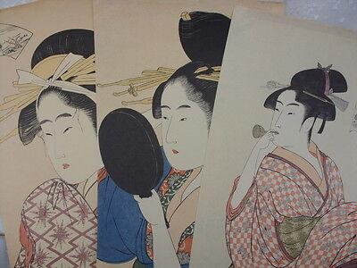 Farb-kunst-druck (Alte 3 x  Farb-Kunstdruck-Holzschnitt -  Bild. Japan .)