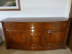 Large Reproduction Cherry Wood Sideboard With Cupboard and Drawers shelves and key