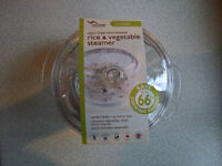 Rice and vegetable microwave steamer