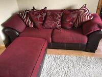 3 & 2 SEATER SUITE WITH FOOTSTOOL