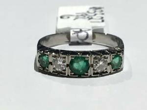 #3327 18K WHITE GOLD FANCY NATURAL CUT EMERALD & DIAMOND RING *SIZE 6* APPRAISED FOR $2150.00 SELLING FOR $725.00