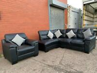Pending delivery Black leather corner sofa and armchair