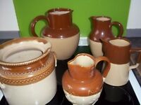 old brown and cream jugs
