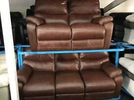 New / Ex Display LazyBoy Brown Leather 2 Seater Recliner + 3 Seater Recliner Sofas