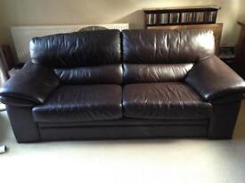 Brown Leather 3 Seater Settee