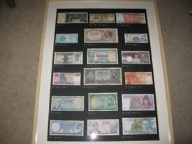 Framed Bank Notes x 18