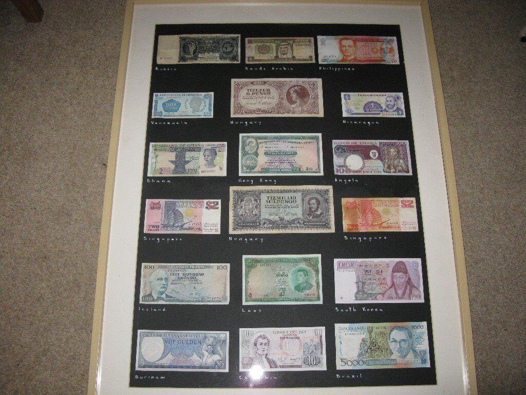 Framed Bank Notes x 18