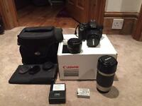 Canon 600d 3 lenses plus extras!