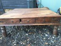 Solid wood square coffee table with 3 drawers