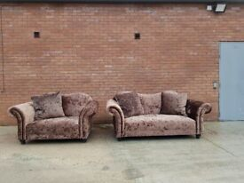 Brown/Chocolate DFS Crushed Velvet 2 and 3 Seater Sofas Suite + Scatter Cushions