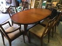 William Lawrence regency style extendable mahogany table and 6 chairs