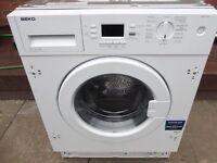 Beko 7Kg integrated washing machine in good clean working order 3 months warranty RRP £349.99