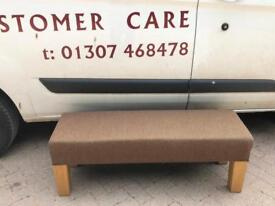 Solid oak window seat / stool with tweed effect fabric * free furniture delivery *