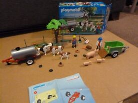 Playmobil 4494 Cow Pasture w/ tank trailer plus Playmobil 4495 Vet With Pig And Piglets