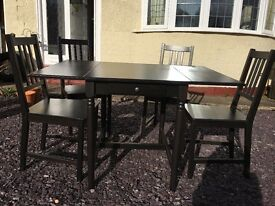IKEA (INGATORP) Drop-leaf table, black-brown and 4 chairs.