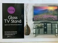Glass TV Stand - 79cm (W) x 44.5cm (D) x 48cm (H)