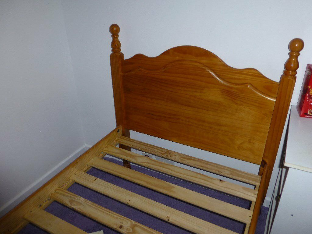 Lovely pine single bed frame 3ft x 6ft 3in, in very good conditionin Camborne, CornwallGumtree - Lovely pine single bed frame with sturdy slats, 3ft wide by 6ft 3in long, in very good condition. Bed frame only (mattress and duvet etc not included). Lovely antique pine colour. It has now been taken apart ready for buyer to collect (see last...