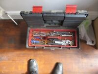 Toolbox with loads of spanners, stiltson, etc £20