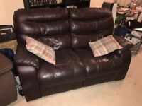 2seater leather brown recliner sofa (free for collection)