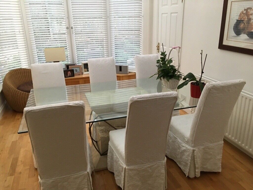 Fenwicks Stone Effect Glass Dining Table And Chairs Image 1 Of 2
