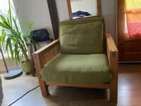 Single Solid Oak Futon Sofa Bed, Excellent Condition