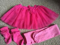 Girls pink dance tutu, tights and socks - age 18-24 months