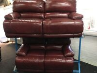 New/Ex Display Guvnor Leather Electric 3 Seater Recliner Sofa + 2 Seater Recliner Sofa